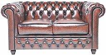Original Chesterfield Sofa - 2 Sitzer - Vollständig Handgewaschenes Leder - Antik Braun