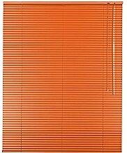 Original Easy-Shadow Aluminium Jalousie Jalousette Breite 80 x 140 cm Höhe in Farbe orange - Bedienseite rechts - Fensterjalousie Jalousien Alu-Jalousien Alu-Jalousetten Fenster Rollo Lamellenbreite 25 mm Lamellen / Maßanfertigung