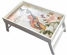 Original GMMH Laptop Geige Tablett HolzUnterlage Klapp Tisch Bett-Tablett FrühstücksTablett ServierTablett klappbar Bett Tisch Tablett Paris London Landhaus