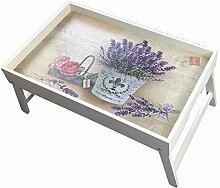 Original GMMH Laptop Lavendel Tablett Unterlage Klapp Tisch Bett-Tablett FrühstücksTablett ServierTablett klappbar Bett Tisch Tablett Paris London Landhaus
