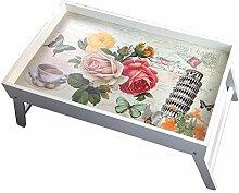 Original GMMH Laptop Tablett HolzUnterlage Klapp Tisch Bett-Tablett FrühstücksTablett ServierTablett klappbar Bett Tisch Tablett Paris London Landhaus
