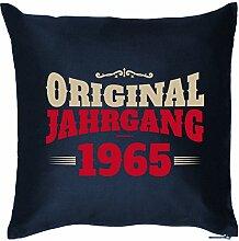 ORIGINAL JAHRGANG 1965 : Kissen mit Füllung - Witziges Zusatzkissen, Kuschelkissen, 40x40 als Geschenkidee. Navy Blau