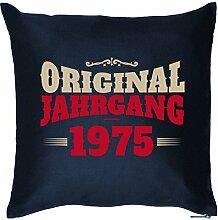 ORIGINAL JAHRGANG 1975 : Kissen mit Füllung - Witziges Zusatzkissen, Kuschelkissen, 40x40 als Geschenkidee. Navy Blau