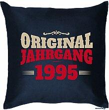 ORIGINAL JAHRGANG 1995 : Kissen mit Füllung - Witziges Zusatzkissen, Kuschelkissen, 40x40 als Geschenkidee. Navy Blau