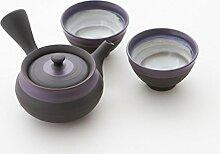 Original japanische Teekanne, Kyusu, mit 2 Becher: