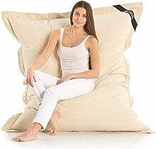 Original LAZY BAG Indoor & Outdoor Sitzsack XXL 400L Riesensitzsack Sitzkissen Sessel für Kinder & Erwachsene 180x140cm (Beige)