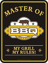 Original RAHMENLOS Blechschild für die Grillparty: Master of BBQ - my grill, my rules Nr.3655