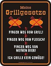 Original RAHMENLOS Blechschild für die Grillparty: Meine Grillgesetze: 1. Finger weg vom Grill … Nr.3653