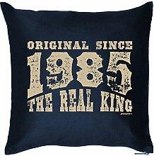 ORIGINAL SINCE 1985 : Kissen mit Füllung - Witziges Zusatzkissen, Kuschelkissen, 40x40 als Geschenkidee. Navy Blau