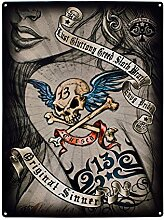 Original Sinner. Zeichnung von Sexy Girl Frau mit Tattoo von 13Totenkopf und Kreuz Knochen und Tribal Design. Punk Rock Mädchen, Metall, Gothic, Pinup, oben blond. Für Haus, Home, Schlafzimmer, pub, Bar oder Tattoo Studio. Metall/Stahl Wandschild, stahl, 20 x 30 cm