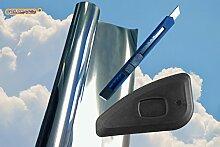 Original SOLAR-TEC® Universal Sonnenschutz Spiegelfolie 99% UV-Schutz 78% reduzierte Helligkeit hochglanzverspiegelt kratzfest selbstklebend 76cm x 220cm für Außen- und Innenmontage mit Zubehör