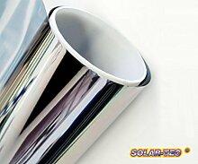 Original SOLAR-TEC® Universal Sonnenschutz Spiegelfolie 99% UV-Schutz 78% reduzierte Helligkeit hochglanzverspiegelt kratzfest selbstklebend für Außen- und Innenmontage (300 x 76cm)