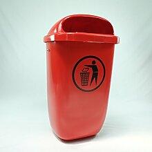 Original SULO Papierkorb Abfallbehälter Mülleimer DIN PK, Inhalt 50 Liter, Farbe: Rot, incl. Dreikantschlüssel