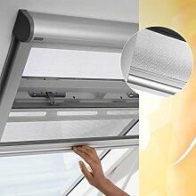 Original VELUX Insektenschutz Rollo ZIL S06 0000 für Lichte Dachauschnitte bis 108 x 200 cm mit Aluminium Führungsschienen und grauem Netzstoff