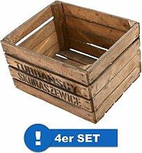 Originale Vintage Obstkisten Altes Land Apfelkisten Regal Couchtisch Weinkisten (4er Set - Apfelkiste mit Deko Aufdruck 50x40x30cm)