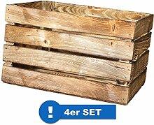 Originale Vintage Obstkisten Altes Land Apfelkisten Regal Couchtisch Weinkisten (4er Set - Geflammte Apfelkiste 50x40x30cm)