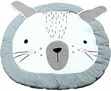 originaltree Neugeborene Teppich kawaii Cartoon Kaninchen Runde Boden Mat Krabbeldecke für Baby Kids, Baumwollmischung, Grau/Weiß, Einheitsgröße