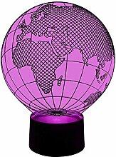 originelle 3D LED-Lampe Deko-Leuchte Globetrotter