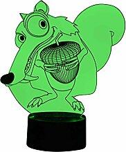originelle 3D LED-Lampe Ice Age Scrat