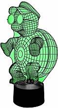 originelle 3D LED-Lampe Schildkröte als