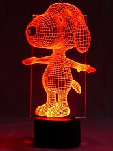Originelle 3D LED-Lampe Snoopy Sportlich, eine