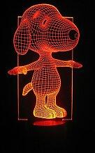 Originelle 3D LED-Lampe Snoopy Sportlich, eine Stimmungslampe besonderer Ar