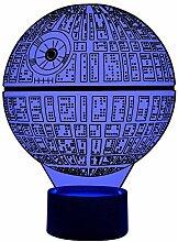 Originelle 3D LED-Lampe Todesstern