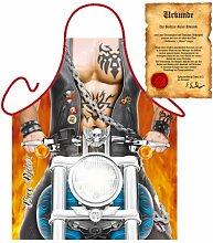 Originelle Koch und Grillschürze für Motorradfreunde! Free Rider Inklusive Grillurkunde!