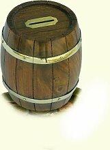 Originelle Spardose- Holztonne- Messing und Holz- rustikal