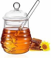 ORIJOYNA Honigglas 238 ml Honigtopf mit Dipper –