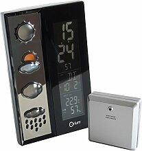 Orium 13073 Aufkleber modische Wetterstation RC, ABS, Schwarz, 12 x 6,5 x 19,39 cm