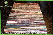 ORNAMENT 240x170 cm Handgewebter Fleckerl Teppich