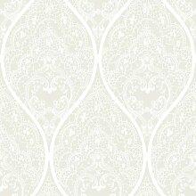Ornament 5966 Vliestapete orientalischer Damast Weiß auf Platinsilber Metallic