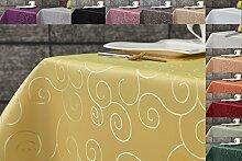 Ornament Damast Tischdecke 130x220 oval von First-Tex *gelb*