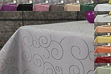 Ornament Damast Tischdecke 130x220 oval von First-Tex *silber*