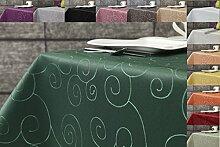 Ornament Damast Tischdecke eckig 130x220 von First-Tex *dunkelgrün*