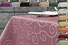 Ornament Damast Tischdecke eckig 160x260 von First-Tex *rosa*