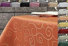 Ornament Damast Tischdecke eckig 160x260 von First-Tex *terracotta*