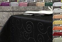 Ornament Damast Tischdecke eckig 160x300 von First-Tex *schwarz*