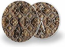Ornament Gold - Moderne Wanduhr mit Fotodruck auf Polycarbonat | Fotouhr Bilderuhr Motivuhr Küchenuhr modern hochwertig Quarz | Variante:30 cm rund mit schwarzen Zeigern