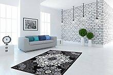 Ornamente Orient Teppiche Glanzfäden Klassisch Schwarz Flachflor Teppich, Größe:160cm x 230cm