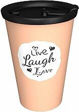 """Ornamin 1210 + 1214 Coffee to go Becher mit auslaufsicherem Deckel 400 ml """"Live, Laugh, Love"""" aprico"""