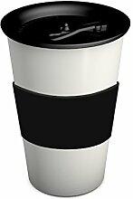 Ornamin 1210 Coffe To Go Becher 380 ml (weiß)  mit auslaufsicherem Deckel und Manschette (schwarz)