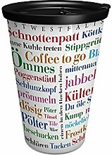 Ornamin 1210 Coffee to go Becher Ostwestfälischer Wortschatz mit Deckel, 380 ml