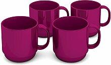 Ornamin Becher 220 ml brombeer, 4er Set | hochwertiger, stabiler Kaffeebecher aus Kunststoff mit Henkel