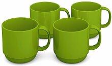 Ornamin Becher 220 ml grün, 4er Set | hochwertiger, stabiler Kaffeebecher aus Kunststoff mit Henkel