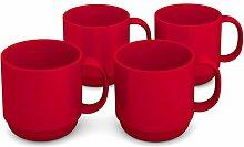 Ornamin Becher 220 ml rot, 4er Set | hochwertiger, stabiler Kaffeebecher aus Kunststoff mit Henkel | robustes Alltags-Geschirr für Kinder, Camping, Picknick, Gemeinschaftsverpflegung, Großküchen, Institutionen | Kaffeetasse, Mehrweg-Becher, Teetasse