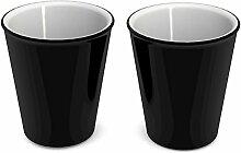 Ornamin Becher 260 ml schwarz, 2er Set | hochwertiger, stabiler Coffee to go Becher aus Kunststoff für zuhause und unterwegs| nachhaltiger Mehrwegbecher auch für Cocktail, Smootie und Heißgetränke | Ökobecher, Partybecher, Biobecher, Kaffeebecher