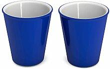 Ornamin Becher 300 ml blau, 2er Set | hochwertiger, stabiler Coffee to go Becher aus Kunststoff für zuhause und unterwegs| nachhaltiger Mehrwegbecher auch für Cocktail, Smootie und Heißgetränke | Ökobecher, Partybecher, Biobecher, Kaffeebecher