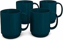 Ornamin Becher 300 ml petrol, 4er Set | hochwertiger, stabiler Kaffeebecher aus Kunststoff mit Henkel | robustes Alltags-Geschirr für Kinder, Camping, Picknick, Gemeinschaftsverpflegung, Großküchen, Institutionen  | Kaffeetasse, Mehrweg-Becher, Teetasse